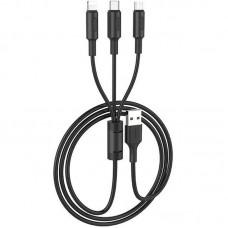 Кабель 3 в 1 USB-Lightning-MicroUSB-Type-C Hoco X25 Soarer 1m Black