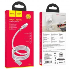 Кабель USB-Type-C Hoco U91 Magic Magnetic 1m 2.4A White