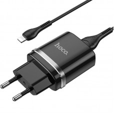 СЗУ 1USB Hoco N1 Ardent Black + Cable USB-Lightning 2.4A Black