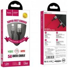 Кабель USB-Type-C Hoco U68 Gusto Flash 5A 1.2m Black