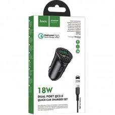 АЗУ 2USB Hoco Z39 QC3.0 18W 3A + Cable USB-MicroUSB Black