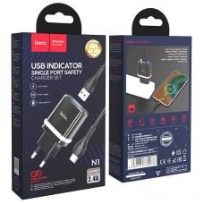 СЗУ 1USB Hoco N1 Ardent 2.4A + Cable USB-Type-C Black