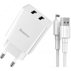 Зарядное устройство сетевое 2USB Baseus Speed Mini 2.1A + Cable USB-Lightning (TZCCFS-R02) White