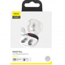 Наушники гарнитура вакуумные Bluetooth 5.0 Baseus WM01 Plus White