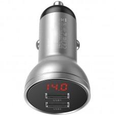 Адаптер автомобильный 2USB Baseus Digital Display 4.8A 24W (CCBX-0S) Silver