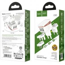Адаптер сетевой 3USB Hoco C83 Detachable pin 2.4A White