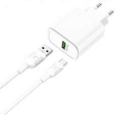 СЗУ 1USB Hoco C69A QC 3.0 White + Cable USB-Type-C 5A White