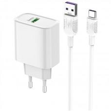 СЗУ 1USB Hoco C69A QC 3.0 White + Cable USB-Type-C 5A White