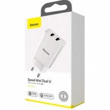 Адаптер сетевой 2USB Baseus Speed Mini 2.1A (CCFS-R02) White