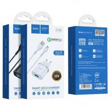 СЗУ 1USB Hoco C12Q QC 3.0 18W 3A + Cable USB-MicroUSB White
