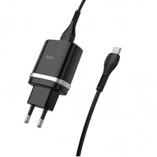 СЗУ 1USB Hoco C12Q QC 3.0 18W 3A + Cable USB-MicroUSB Black