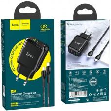 СЗУ 1USB + Type-C Hoco N5 PD 20W QC3.0 3A + Cable Type-C-Lightning Black