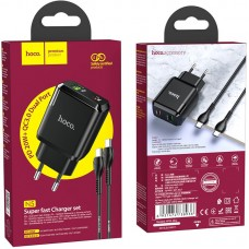 СЗУ 1USB + Type-C Hoco N5 PD 20W QC3.0 3A + Cable Type-C-Type-C Black