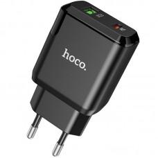 Адаптер сетевой 1USB + Type-C Hoco N5 PD 20W 3A QC3.0 Black