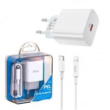 СЗУ 1Type-C Hoco C76A PD 20W + Cable Type-C-Lightning White