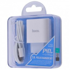 СЗУ 1Type-C Hoco C76A PD 20W + Cable Type-C-Lightning White