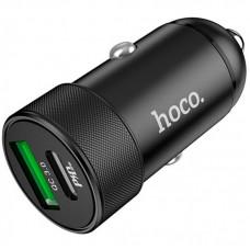 Адаптер автомобильный 1USB Type-C Hoco Z32B QC3.0 4.5A Black