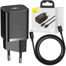 СЗУ Baseus Super Si Type-C PD 20W 5A + Cable Type-C-Lightning iPhone 12 (TZCCSUP-B01) Black