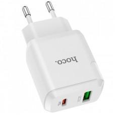 СЗУ 2USB Type-C Hoco N5 PD 20W QC 3.0 3A + Cable Type-C-Type-C White