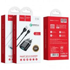 СЗУ 1USB Hoco C12Q 3A + Cable USB-Type-C White