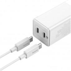 СЗУ 2USB Type-C Baseus GaN2 QC PD 45W 3A+ Cable Type-C-Type-C (CCGAN-Q02) White