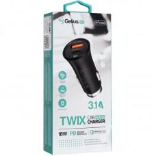 АЗУ Gelius Pro Twix 1USB Type-C QC PD 18W 3.1A + Cable USB-Lightning Black (GP-CC006)