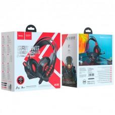 Наушники гарнитура накладные Hoco W102 Cool LED Red