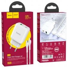 СЗУ 1USB Type-C Hoco N5 PD 20W QC3.0 3A + Cable Type-C-Lightning White