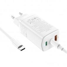 СЗУ 1USB 2Type-C Hoco N16 65W 3A + Cable Type-C-Type-C White