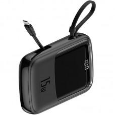 УМБ Power Bank Baseus Q-Pow Display Cable Lightning 2USB 1Type-C 15W 3A 10000mAh Black (PPQD-B01)