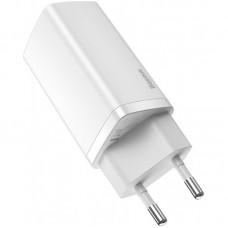 Адаптер сетевой 2Type-C Baseus GaN Lite 65W 3A (CCGAN2L-E02) White