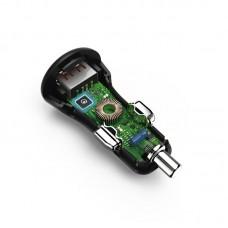 Зарядное устройство автомобильное Hama 1USB 3A QC3.0 Black (00178394) + cable USB-Type-C