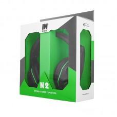 Наушники гарнитура накладные Gemix N2 LED Black/Green (04300105)
