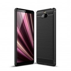 Чехол накладка TPU SK Fiber Carbon для Sony Xperia 10 Plus Black