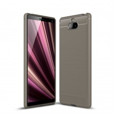 Чехол накладка TPU SK Fiber Carbon для Sony Xperia 10 Plus Grey