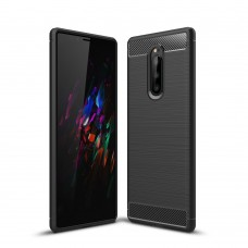 Чехол накладка TPU SK Fiber Carbon для Sony Xperia 1 J9110 Black