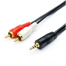 Кабель Audio 3.5мм-2RCA Atcom 0.8m пакет Black (10810)