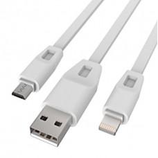 Кабель Drobak 2 в 1 USB-Lightning-MicroUSB 1m (219092) White