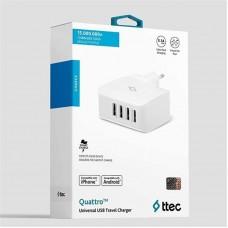 Адаптер сетевой Ttec Quattro 4USB 5.1A 25W White (2SC02B)