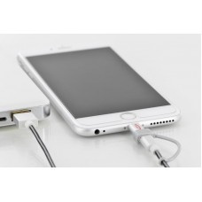 Кабель 2 в 1 USB-Lightning-MicroUSB EDNET 1m Black (31052)