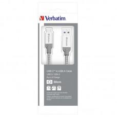 Кабель USB-Type-C Verbatim 0.3m Silver (48868)