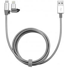 Кабель 2 в 1 USB-Lightning-MicroUSB Verbatim 1m Silver (48869)