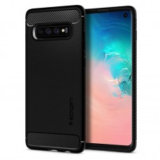 Чехол накладка TPU Spigen Rugged Armor для Samsung S10 G973 Black (605CS25800)