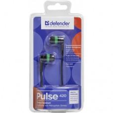 Наушники гарнитура вакуумные Defender Pulse 420 Black/Green (63422)