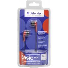 Наушники вакуумные Defender Basic-604 Black/Red (63605)