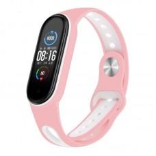 Ремешок TPU BeCover Sport Style для Xiaomi Mi Band 5 Pink/White (705173)