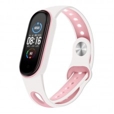 Ремешок TPU BeCover Sport Style для Xiaomi Mi Band 5 White/Pink (705174)