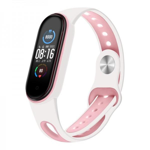 Ремешок TPU BeCover Sport Style для Xiaomi Mi Band 6 5 White/Pink (705174)