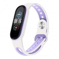 Ремешок TPU BeCover Sport Style для Xiaomi Mi Band 5 White/Purple (705175)