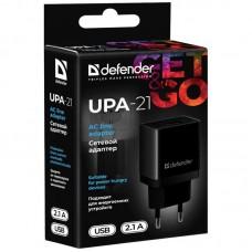 Адаптер сетевой Defender UPA-21 1USB 2.1A Black (83577)